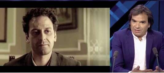 Le réalisateur Bachir Derrais sur un plateau télé devant une image extraite de son film consacré au héros national Larbi Ben M'Hidi. Ce biopic est bloqué par les autorités.