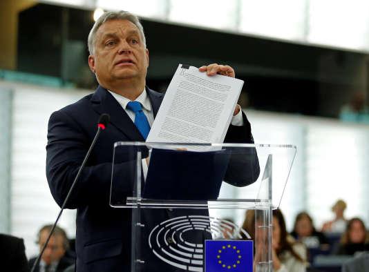 Le premier ministre hongrois, Viktor Orban, s'exprime sur l'article 7 et la Hongrie, devant le Parlement européen, le11 septembre.