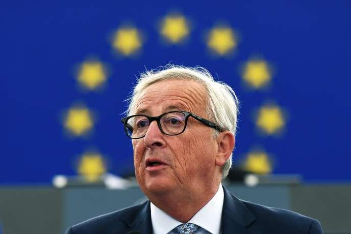 Le président de la Commission européenne Jean-Claude Juncker lors de son discours sur l'état de l'Union, le 12 septembre 2018.