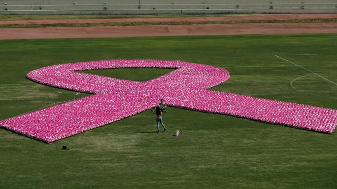 Lors d'un événement de sensibilisation au cancer du sein, dans un stade de Beyrouth, en 2017.