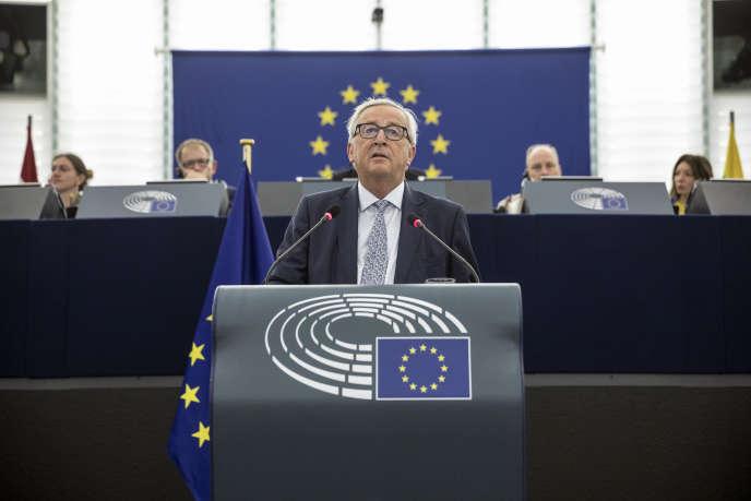 Jean-Claude Juncker, le président de la Commission, au Parlement européen, à Strasbourg, le 12 septembre.