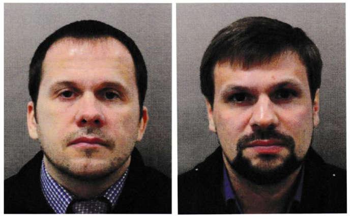 Les photos, publiées par la police londonnienne, des deux suspects–Alexandre Petrov (à gauche) et Rouslan Bachirov– impliqués dans l'empoisonnement de l'ex-agent double Sergueï Skripal et de sa fille Ioulia, à Salisbury, en Angleterre.