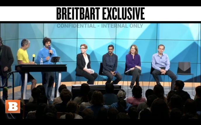 Une capture d'écran de la réunion interne de Google publiée par Breitbart.