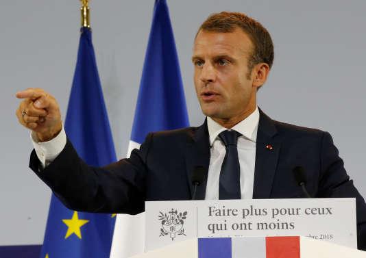 Emmanuel Macron au Musée de l'homme, place du Trocadéro, à Paris, où il a annoncé les détails du plan pauvreté du gouvernement, jeudi13 septembre.