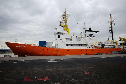 Marseille, le 12 septembre 2018. L'«Aquarius» est à quai depuis le 27août 2018 pour des raisons liées à des opérations de maintenance et à un changement de pavillon.