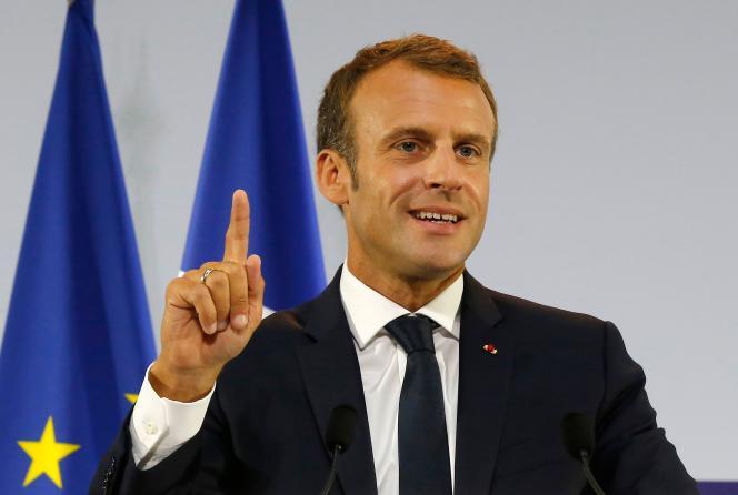 Emmanuel Macron dévoile son plan «pauvreté», le 13 septembre à Paris.