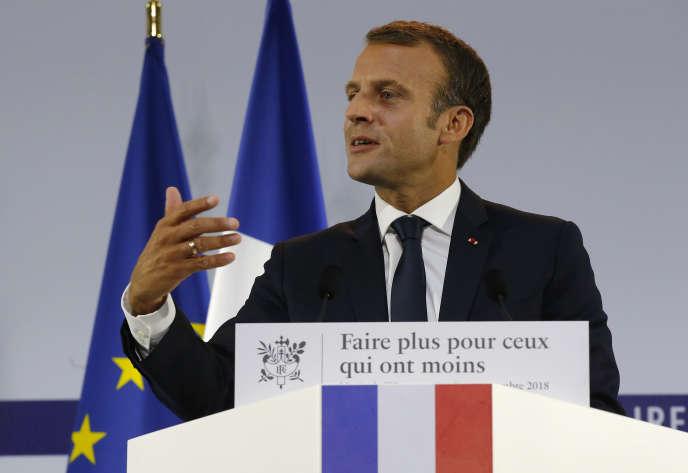 Le président Emmanuel Macron, lors du discours de présentation du plan pauvreté, le 13 septembre à Paris.