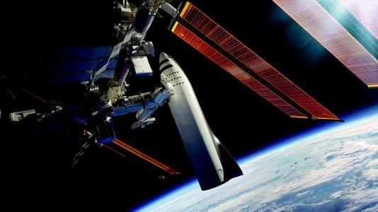 Dessin d'artiste représentant SpaceX près de l'ISS.