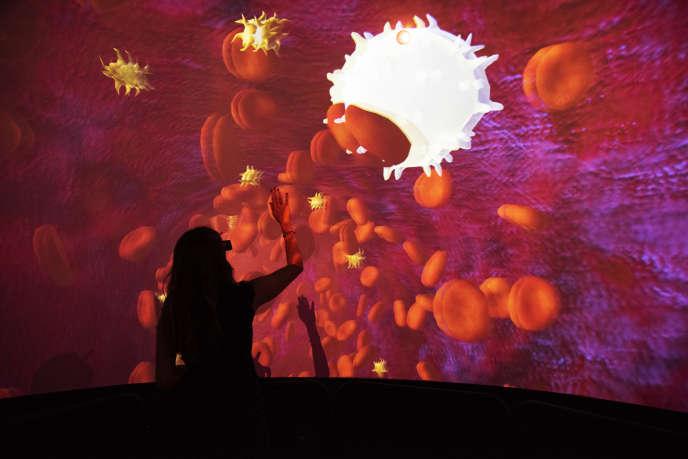 Installation de réalité virtuelle proposée par Cortex Productions au festival Novaq, à Bordeaux, le 13 septembre 2018.