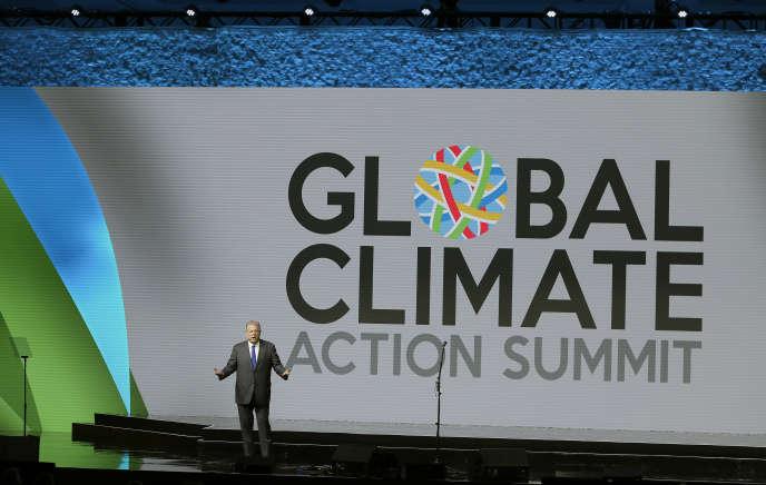 Al Gore s'exprime lors du sommet sur le climat de San Francisco, aux Etats-Unis, le 14 septembre.