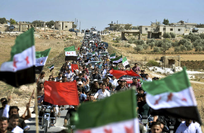 Manifestation contre le régime Assad, à Idlib (nord d ela Syrie), le 14 septembre.