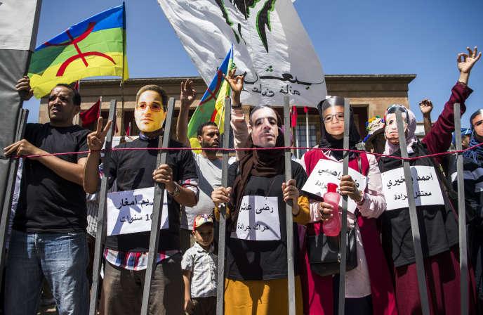 Manifestation dénonçant l'emprisonnement de militants du Hirak, à Rabat, le 15juillet 2018.