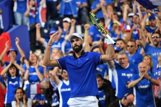Benoît Paire a remporté le premier point pour la France. Et son premier match en bleu, vendredi 14 septembre.