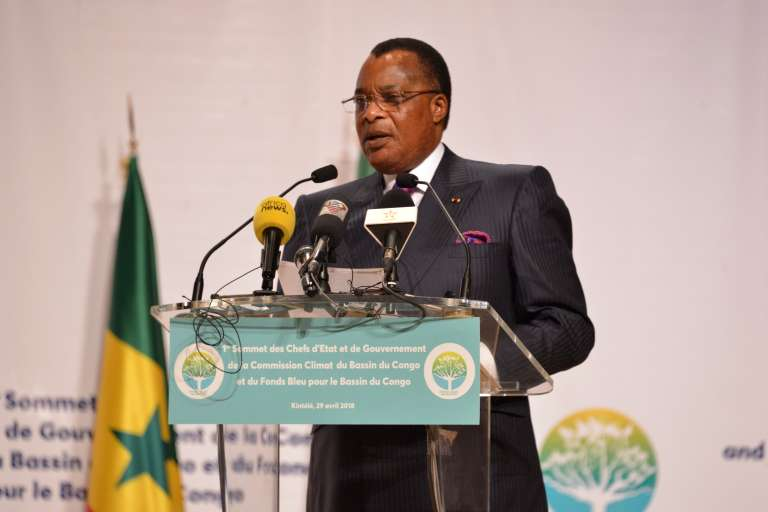 Le président congolais Denis Sassou-Nguesso, le 29 avril 2018, à Brazzaville.