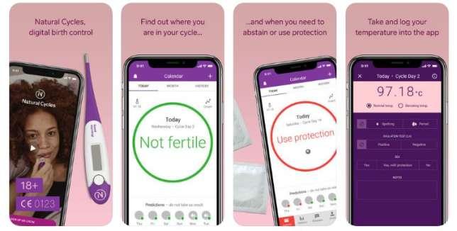 Un cercle vert indique les jours sans risque de grossesse selon l'application.