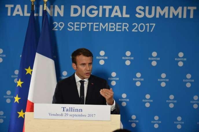 Emmanuel Macron au Sommet européen du numérique, à Tallinn (Estonie), en septembre 2017.