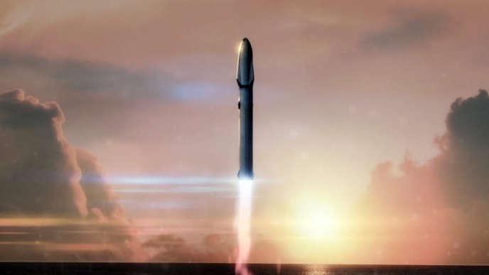 Image d'artiste représentant le lancement d'une fusée Big Falcon Rocket.