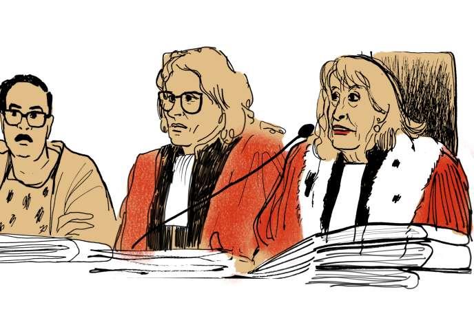 La présidente Xavière Siméoni,l'une de ses assesseurs et une partie des jurés, au procès Méric, le 14 septembre.