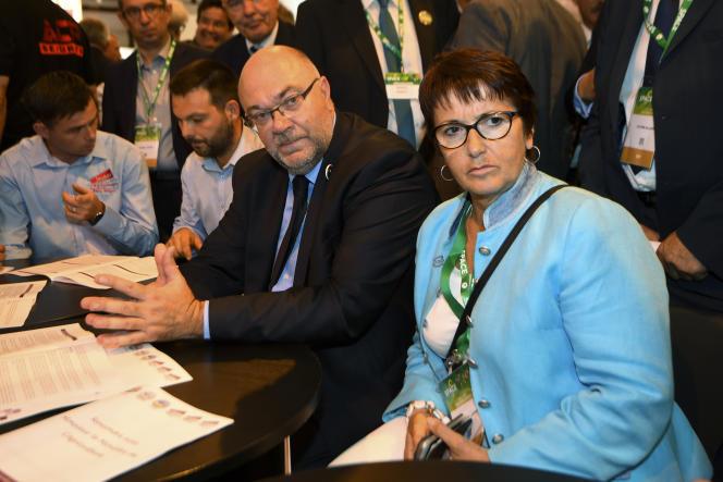 Stephane Travert, le ministre de l'agriculture et Christiane Lambert, la présidente de la FNSEA, lors du Salon international des productions animales (Space), à Saint-Jacques-de-la-Lande, près de Rennes, le 11 septembre.