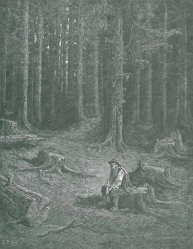 «La Forêt et le Bûcheron», gravure de Gustave Doré pour illustrer la fable de Jean de La Fontaine.