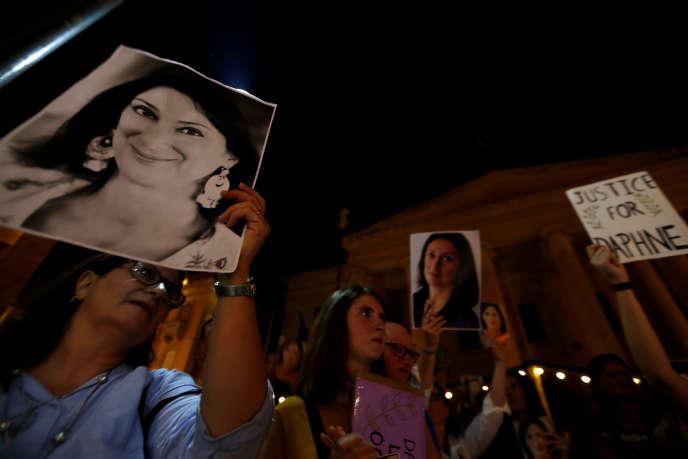 Un rassemblement en hommage à la journaliste assassinée, Daphne Caruana Galizia, à La Valette, le 16 septembre 2018.