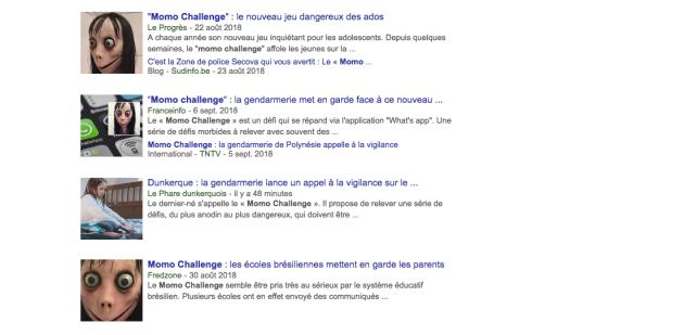 Articles sur « Momo challenge» dans Google Actu.