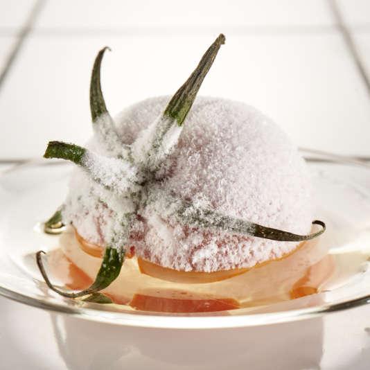 Une expérience conçue par Raphaël Haumont: la cryoconcentration de tomate consiste àrécupérer un jus de tomate incolore mais très parfumé, grâce àl'action de l'ultra froid.