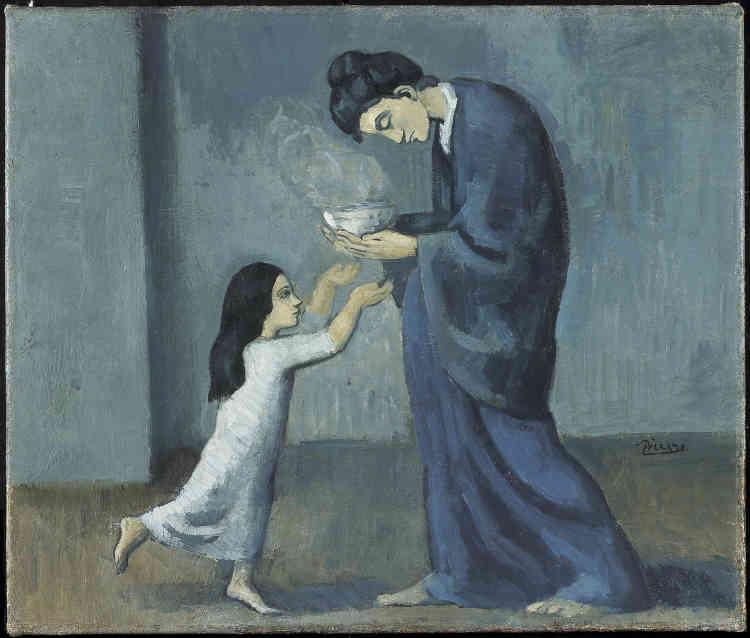 A l'automne 1901, Pablo Picasso se rend à la prison pour femmes de Saint-Lazare à Paris: il y voit des détenues accompagnées de leurs enfants.Ces visites fréquentes annoncent une série de toiles, sombres, autour du thème de la maternité.