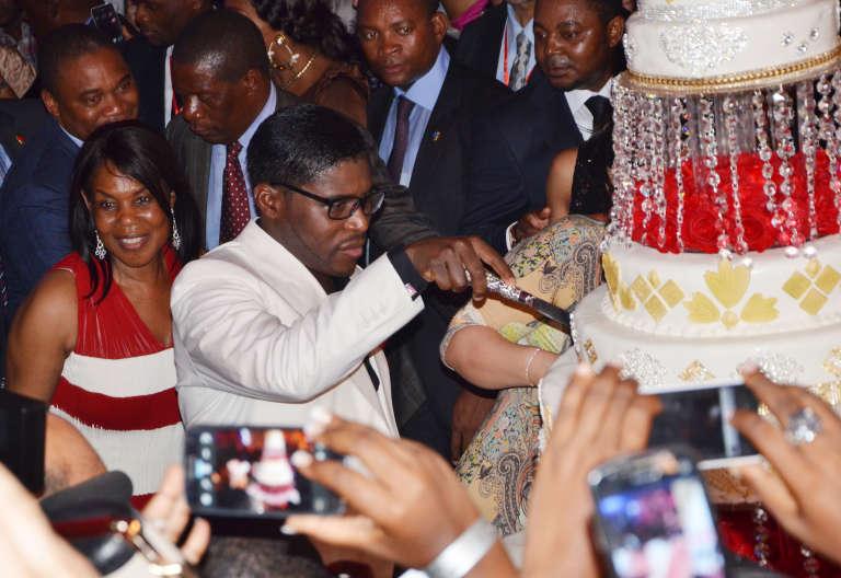 Teodorin Nguema Obiang, en 2013, lors de sa fête d'anniversaire, près de Malabo.