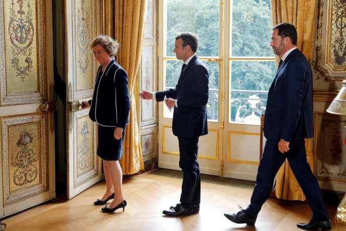 La ministre du travail, Muriel Pénicaud, Emmanuel Macron, et le secrétaire d'Etat Christophe Castaner, le 22 septembre àl'Elysée.