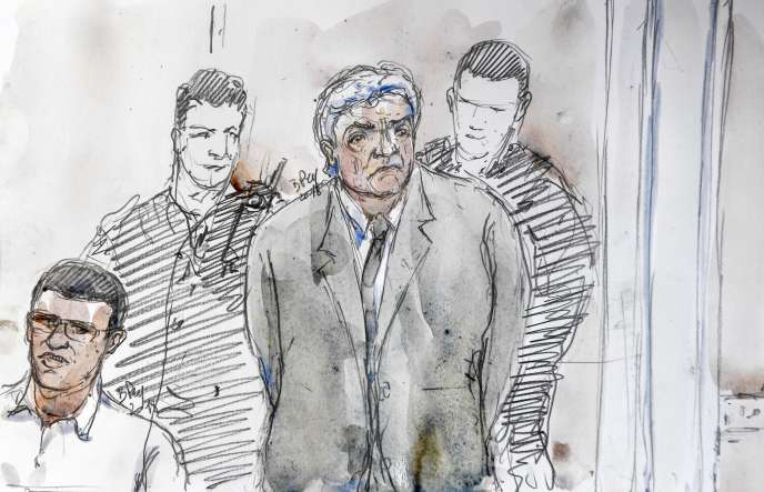 Croquisde Wojciech Janowski, au procès Pastor, le 17 septembre à Aix-en-Provence.