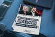 Une affiche montrant Marine Le Pen et Matteo Salvini lors du congrès du Rassemblement national, à Fréjus, le 16 septembre.