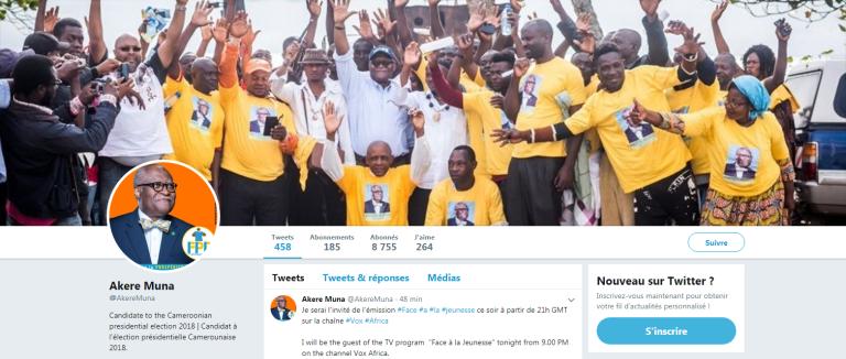 Candidat à la présidentielle d'octobre 2018, Akere Muna mise notamment sur les photos et vidéos pour faire passer son message à la jeuness camerounaise.