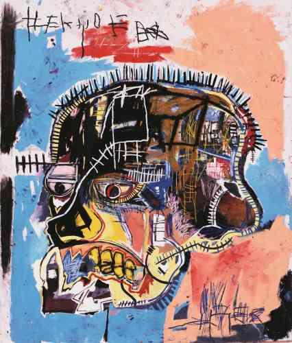 «Les têtes peintes par Jean-Michel Basquiat témoignent de la vivacité et de l'énergie gestuelle de ses premières réalisations. Le crayon gras accentue l'anatomie de la figure allant jusqu'à disséquer visage et crâne pour en montrer les tendons, les gencives et le squelette.»