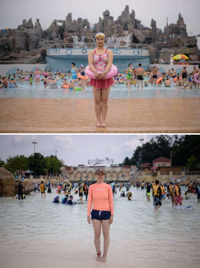 En haut: une jeune fille au Munsu Park Water, à Pyongyang, en septembre 2017. En bas, au Carribean Bay Water, à Séoul, en août.