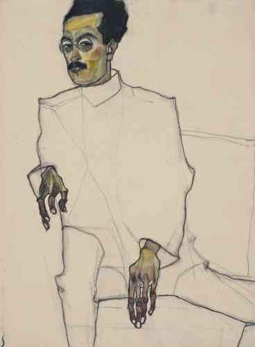 «Comme on peut le voir dans d'autres portraits de cette période, le corps paraît ici comme désintégré. Egon Schiele choisit de ne représenter que les mains et le visage, qu'il détaille exagérément. Il s'agit d'une mise en scène savamment étudiée: animées par des touches lumineuses, les teintes sombres de la peau contrastent étrangement avec le blanc opaque du vêtement.»