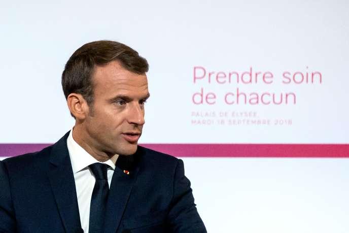 Emmanuel Macron lors de l'annonce de son plan santé, à Paris, le 18 septembre.