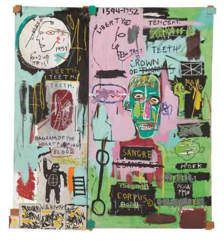 «Avec deux grandes toiles montées sur des supports en bois, Jean-Michel Basquiat entremêle, avec force, mots et images, en y apposant des sujets récurrents tels que le corps humain, son anatomie, ou encore la représentation du martyr. Le titre fait référence à son voyage en Italie soulignant ainsi sa fascination pour les maîtres de la Renaissance.»