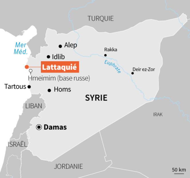 Carte de Lattaquié, en Syrie.