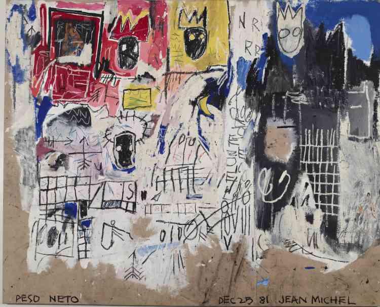 """«Ici, des grilles et des symboles qui rappellent les jeux de l'enfance, notamment par le recours à la craie. En même temps, Jean-Michel Basquiat utilise des couleurs primaires pour mettre en valeur des têtes couronnées et des visages masqués. Les personnages eux-mêmes rappellent ceux du film """"Downtown 81"""", écrit par Glenn O'Brien et réalisé par Edo Bertoglio, tourné à New York de décembre 1980 à janvier 1981.»"""