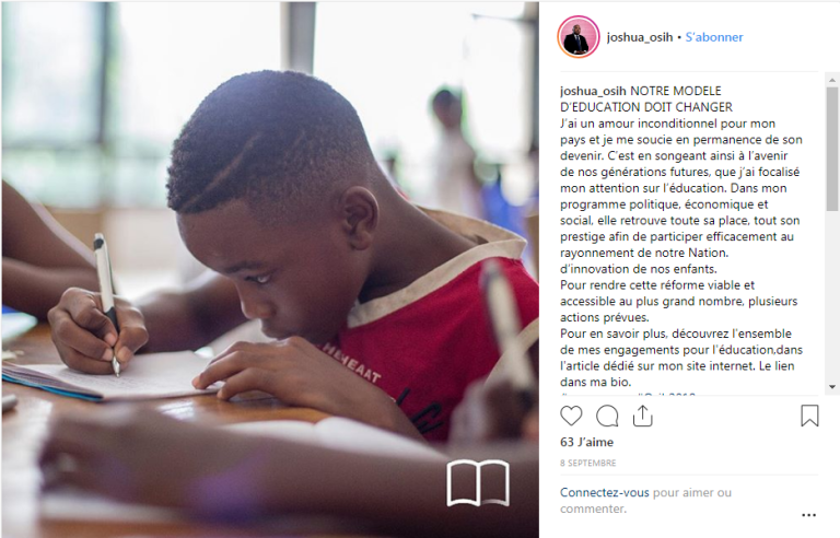Comme plusieurs de ses rivaux pour la présidentielle de 2018 au Cameroun, Joshua Osih,candidat du Social Democratic Front, fait campagne sur les réseaux sociaux.