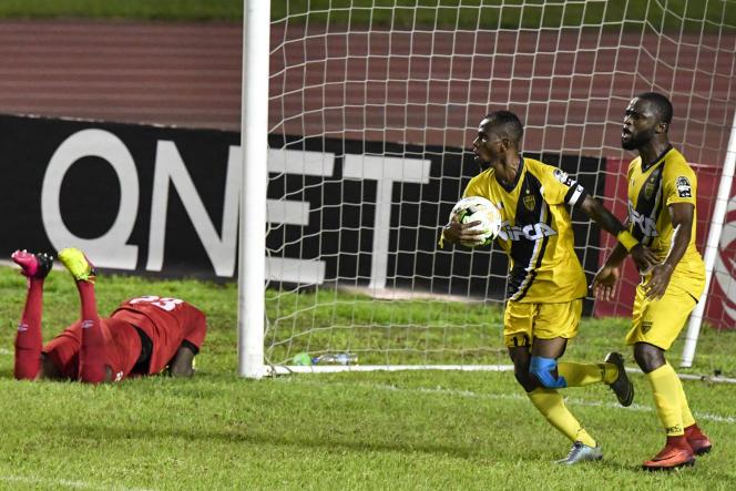 L'ASEC Mimosas célèbre un but inscrit contre le club congolais de l'AS Vita , le 29août 2018 à Abidjan.