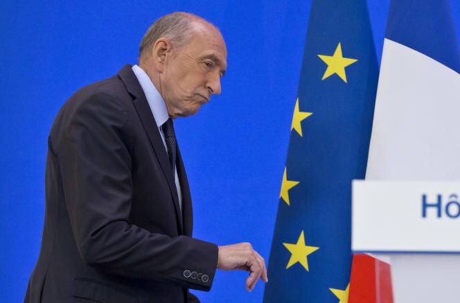 Le ministre de l'intérieur, Gérard Collomb, lors d'une conférence de presse, Place Beauvau, à Paris, le 6 septembre.