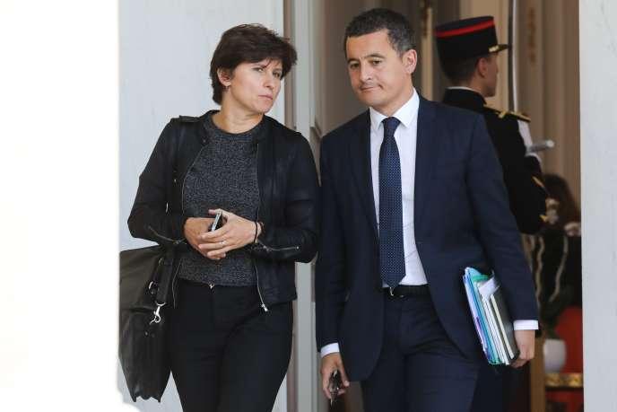 La ministre des sports, Roxana Maracineanu au côté de Gérald Darmanin, le ministre des comptes publics, à la sortie de l'Elysée, le 19 septembre.