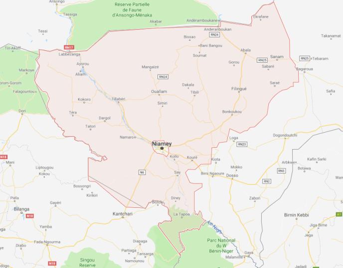 La région de Tillabéri, dans le sud-ouest du Niger,où un prêtre italien, Pier Luigi Maccalli, a été enlevé le 17 septembre 2018, non loin de la frontière zone frontalière avec le Burkina Faso.