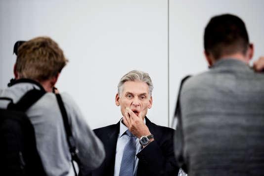 Thomas Borgen, à Copenhague, le 19 septembre, alors qu'il va annoncer sa démission de son poste de directeur général de la Danske Bank.