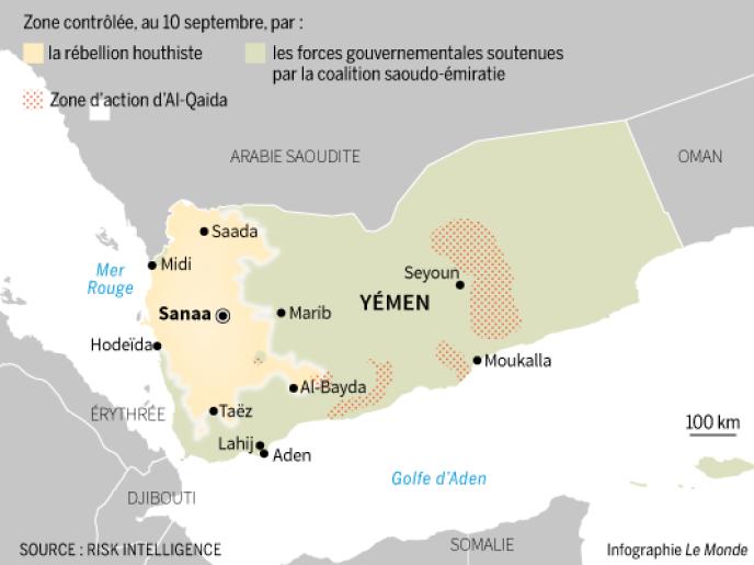 Carte des forces en présence au Yémen au 10 septembre 2018