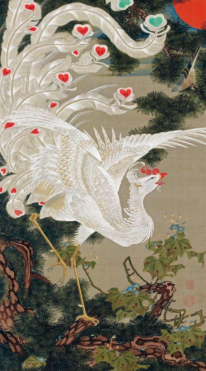 «Vieux pin et phénix blanc» (1765-1766), d'Ito Jakuchu, Tokyo, Musée des collections impériales.