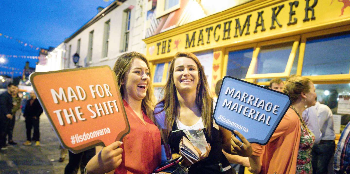 Rachel Murphy (21)  and Shauna Forde (21) from Wexford outside the Matchmaker Bar during the Annual Matchmaking Festival in Lisdoonvarna, Co Clare. Photograph by Eamon Ward