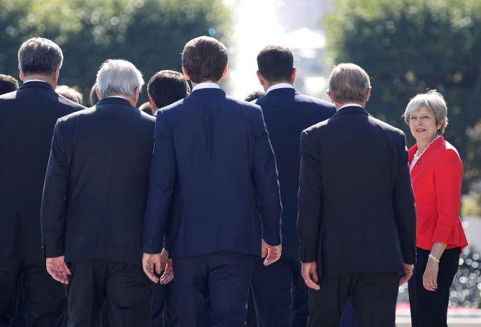 La première ministre britannique, Theresa May, le 20 septembre à Salzbourg, en Autriche.